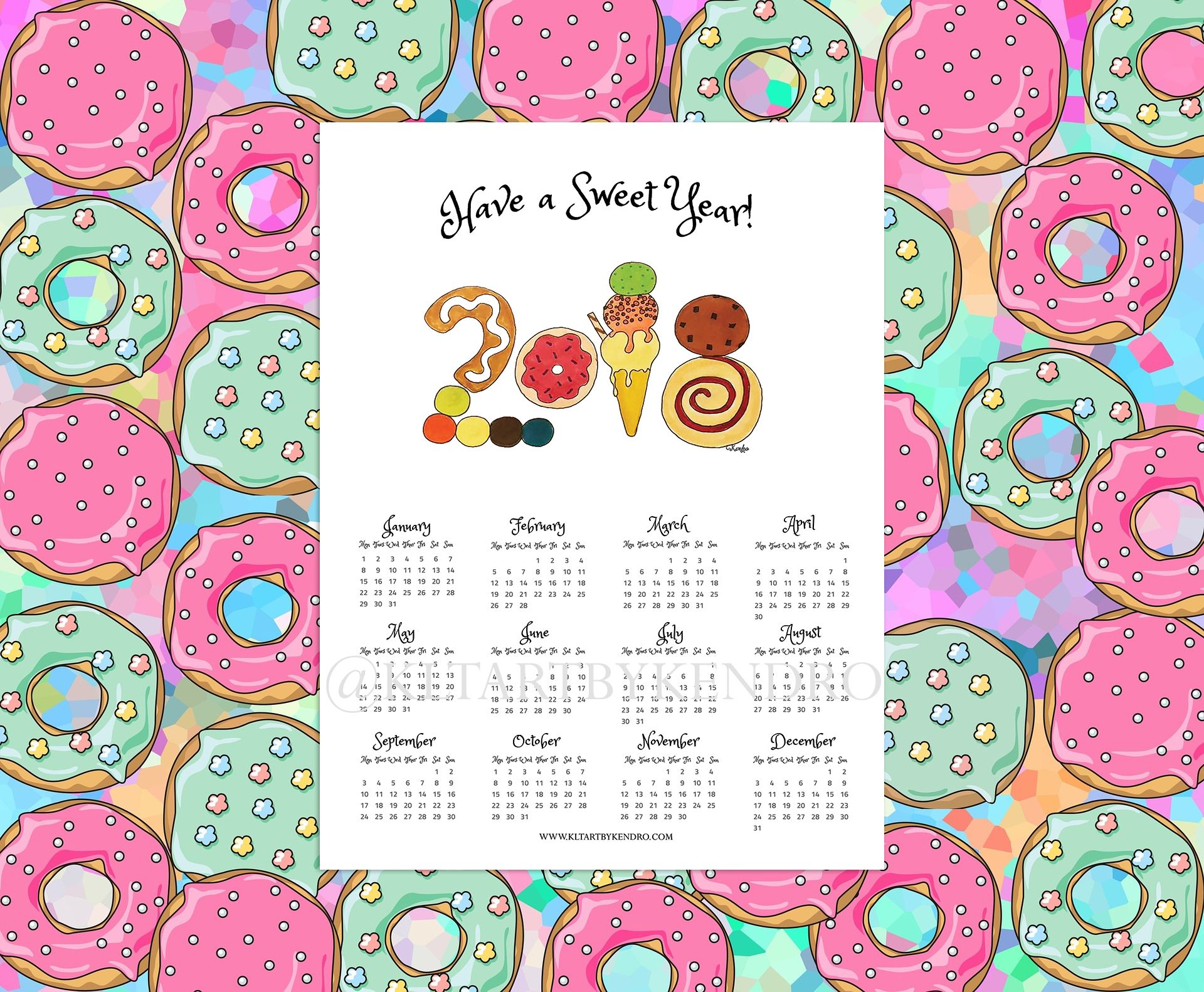 have a sweet year 2018 sweet treats theme 12 month poster calendar