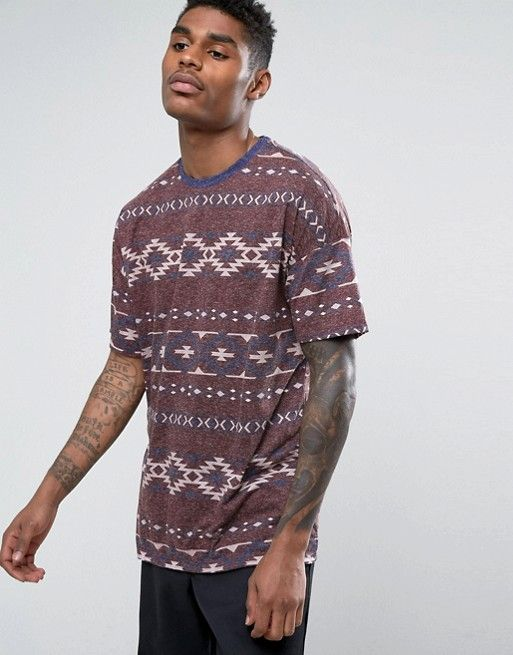 ASOS Oversized T-Shirt With Geo-Tribal Print And Contrast Ringer