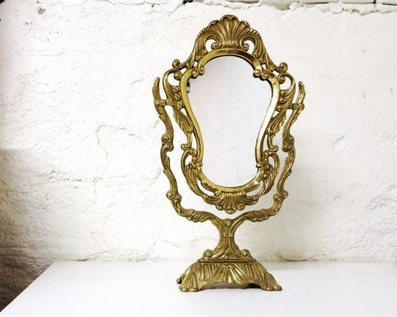 Large Ornate Art Nouveau Brass Vanity Mirror  Vintage Gold Mirror on Swivel  Pedestal Stand Photo PropLarge Ornate Art Nouveau Brass Vanity Mirror by BonVieuxTemps  . Mirror On A Stand Vanity. Home Design Ideas