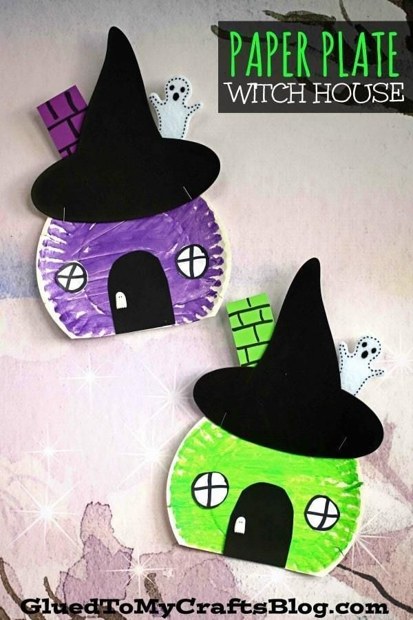 Wickedly Easy - Pappteller Hexenhaus Basteln für Kinder - Preschool Halloween #toddlerhalloween