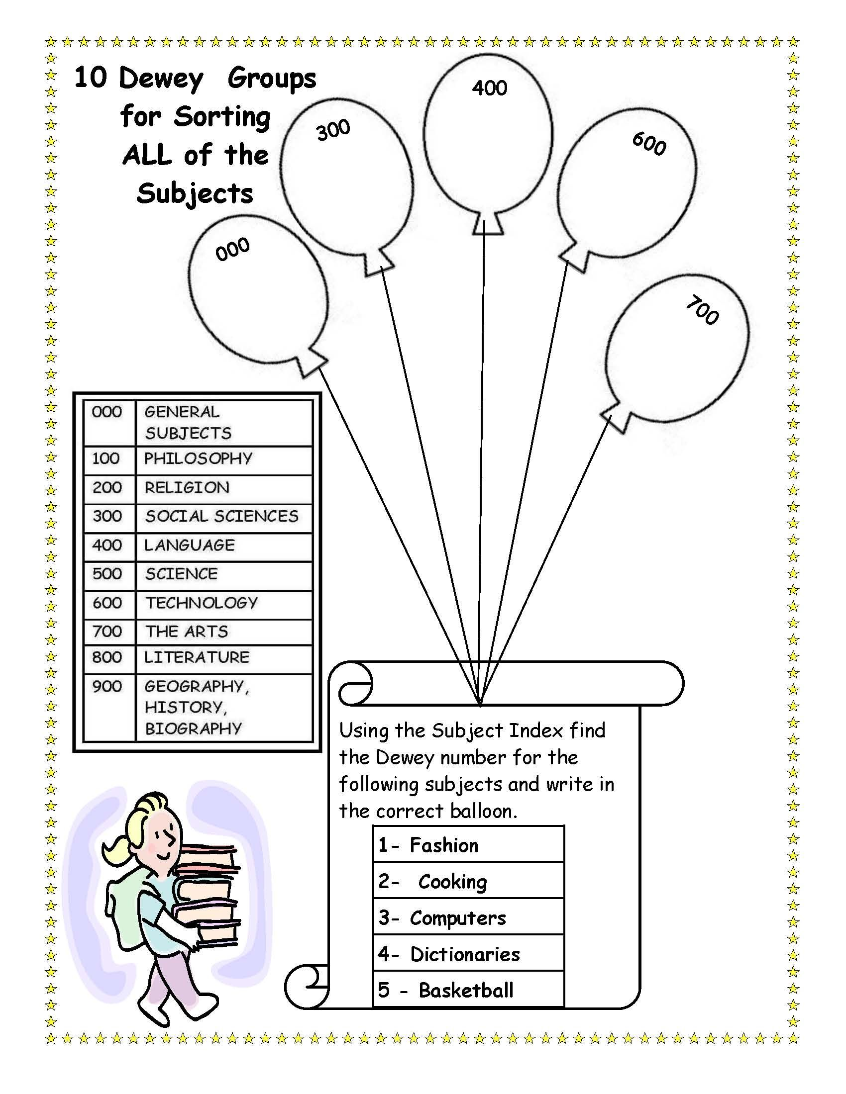 Cute To Bad I Killed Dewey Library Skills Worksheet Library Skills Elementary Librarian Library Lesson Plans
