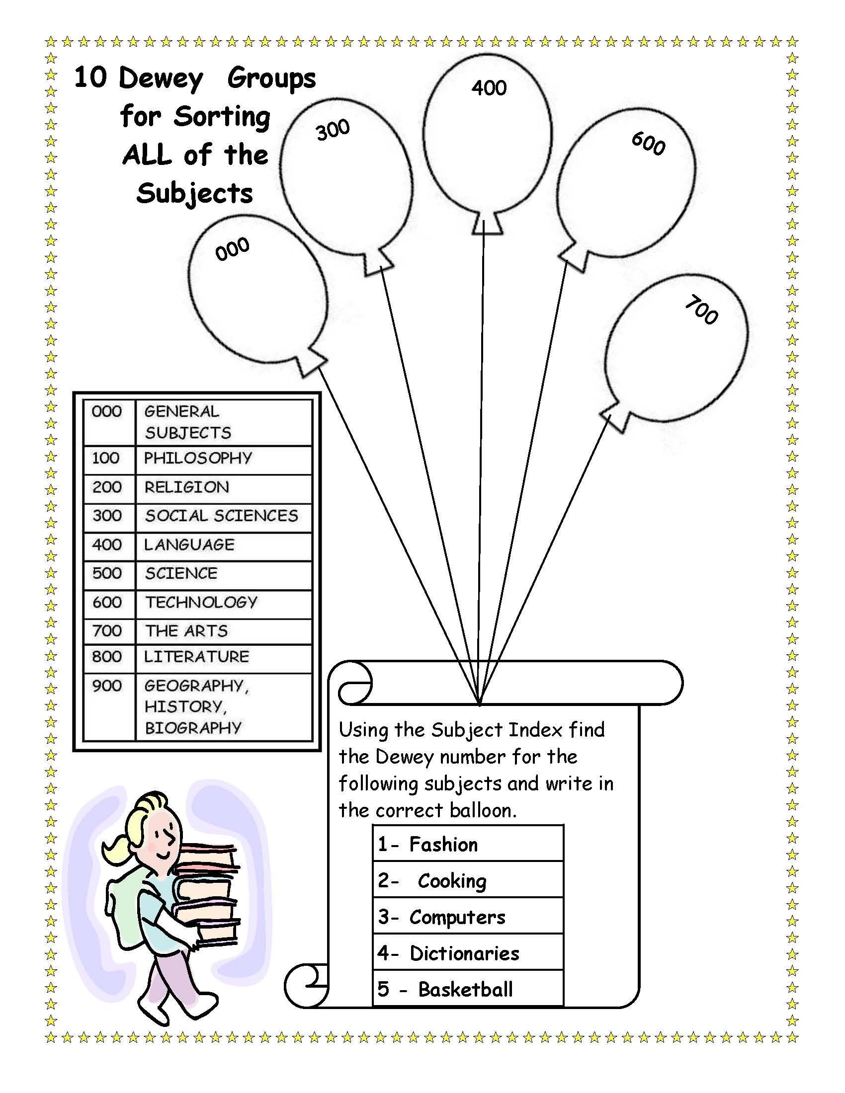 Library Media Lesson Plans for Dewey LiveBinder – Dewey Decimal System Worksheets