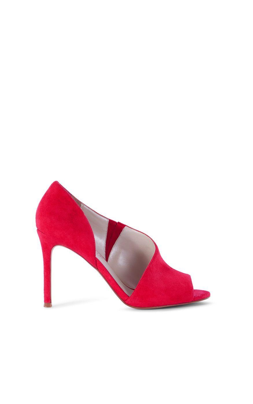 8709408333 Karen Millen Suede Asymmetric Peep-Toe Shoe, Pink | Ladies Shoes ...
