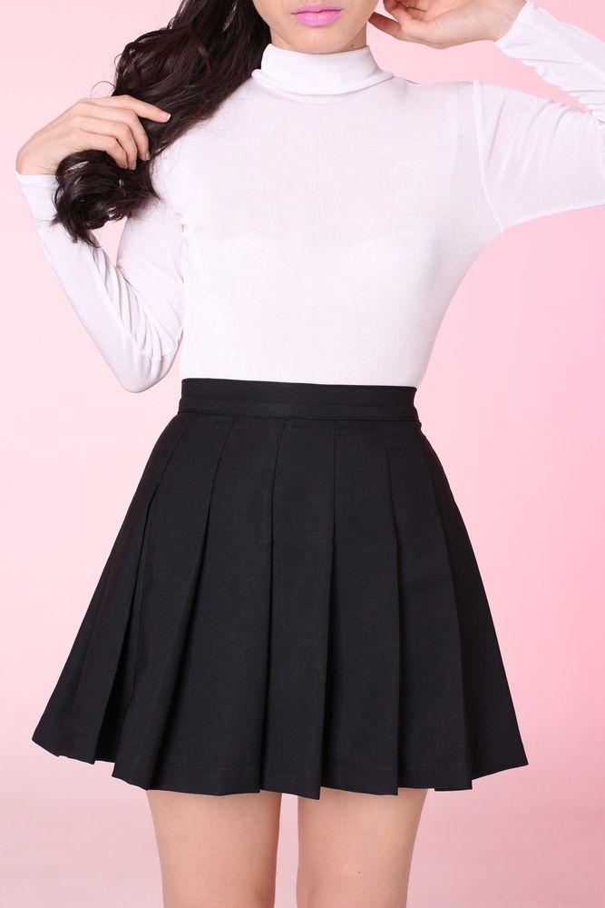 Made To Order Black Pleated Cheer Skirt Pleated Skirt Short Pleated Skirt Outfit Short Casual Skirt Outfits