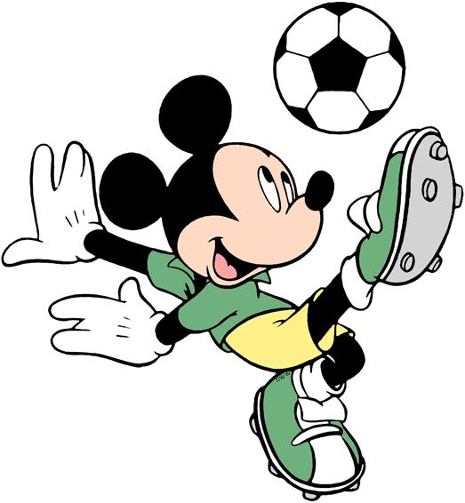 Mickey Kicking Soccer Ball Cartoon Styles Character Poses Drawing Artwork