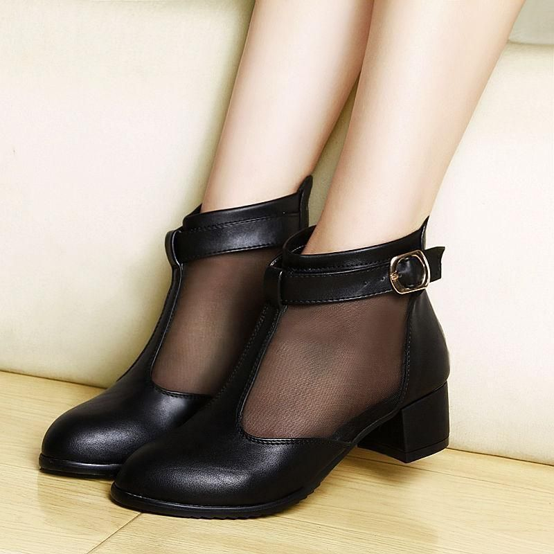 5f77c928a369e Womens Ladies Ankle Boots Mesh Sandals Low Heel Oxfords Pointed Toe Date  Shoes
