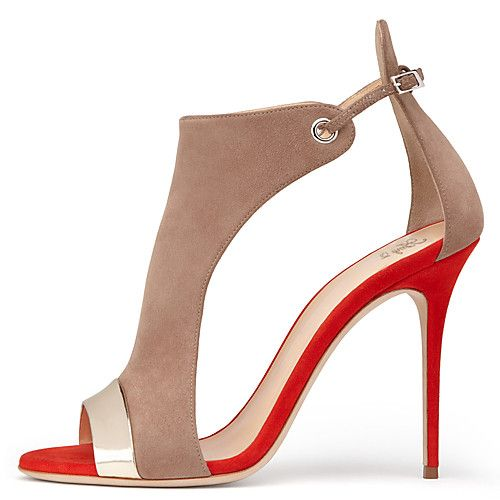 Shoes For Women Leatherette Stiletto Heel Heels Round Toe Heels Party Evening Dress Dress Casual Blue Red Beigeb-28