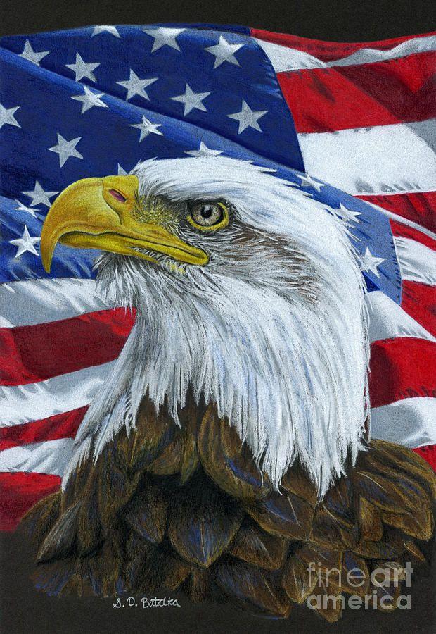 a8117394d1691 American Eagle Painting by Sarah Batalka. American Eagle Painting by Sarah  Batalka Memorial Day Flag