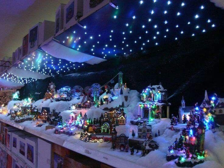 Christmas village with starry night sky Christmas village display - christmas town decorations
