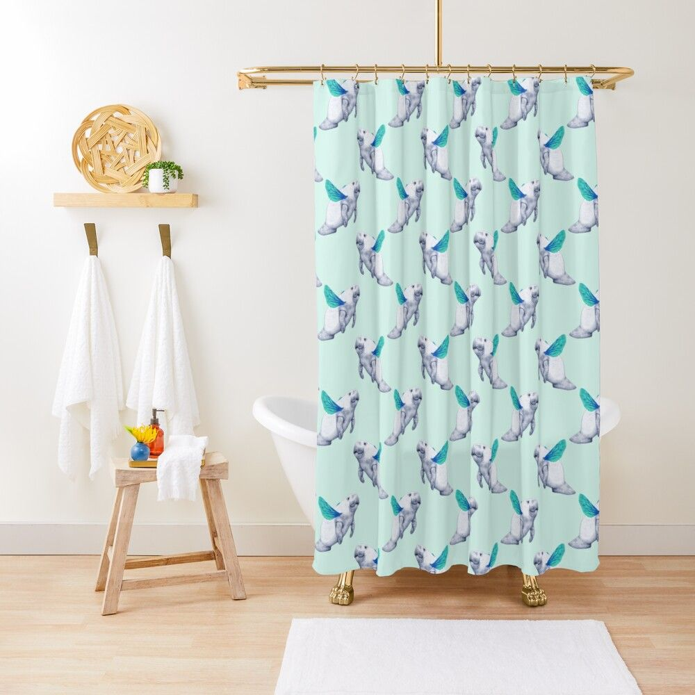 Felicie As Clara Throw Pillow Patterned Shower Curtain Blue