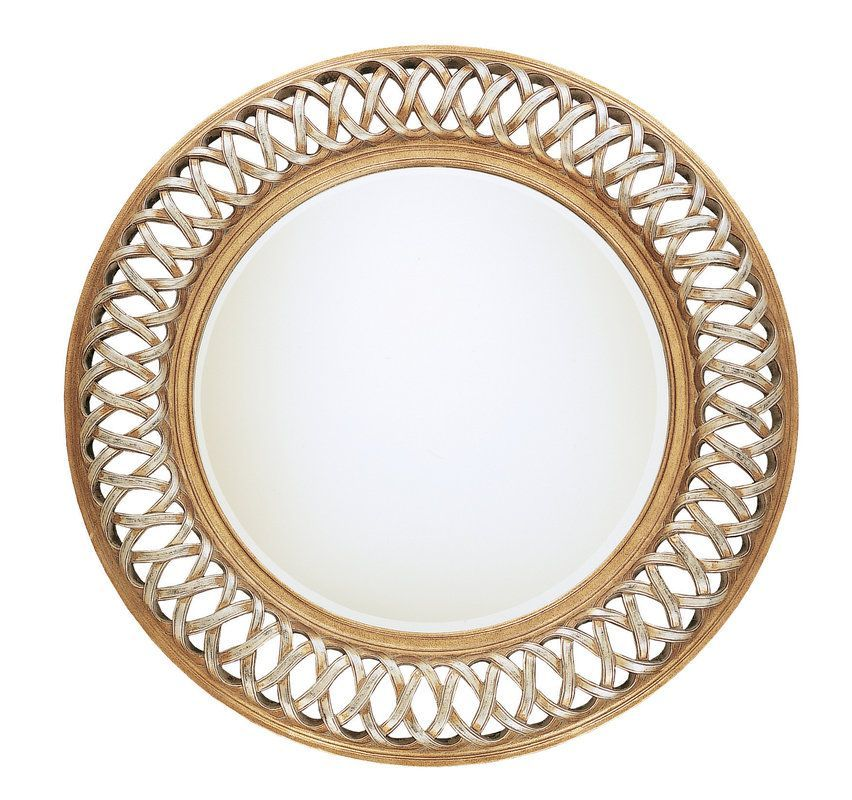 Uttermost 14028 B Entwined Round Mirror With Woven Look Frame Antique  Silver Leaf Gold Leaf Home