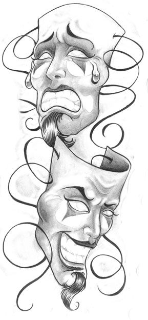 Laugh Now Cry Later Mask : laugh, later, Laugh, Later, Clown, Masks, Tattoo, Design, Tattoos, Gallery,, Drawings,, World