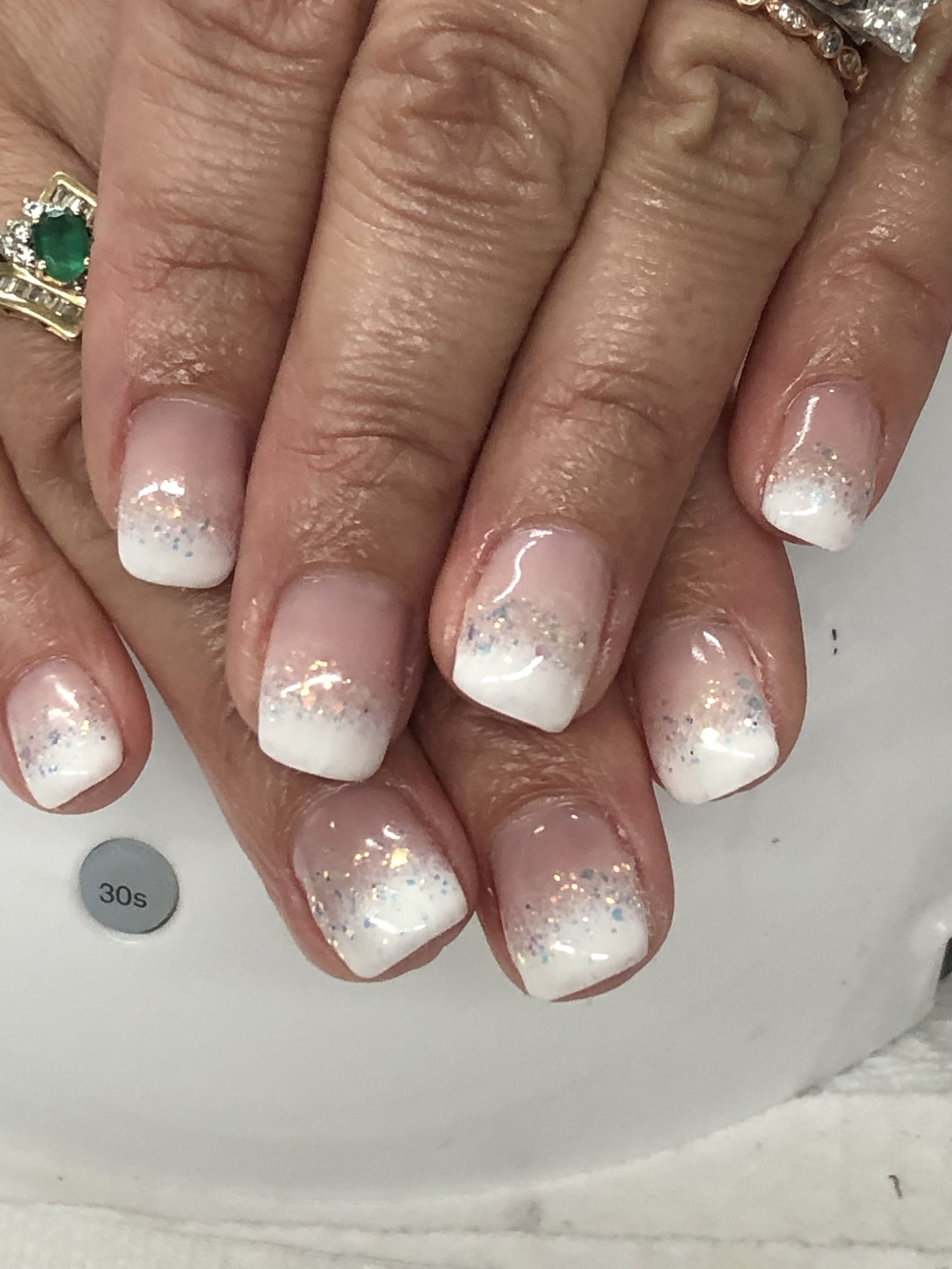Ombre French Glitter Gel Nails Glitter Gel Nails Gel Nail Designs Nails