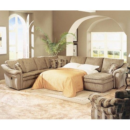 Devon Devon 5 Piece Sectional with Chaise and Sleep Sofa by LaZ