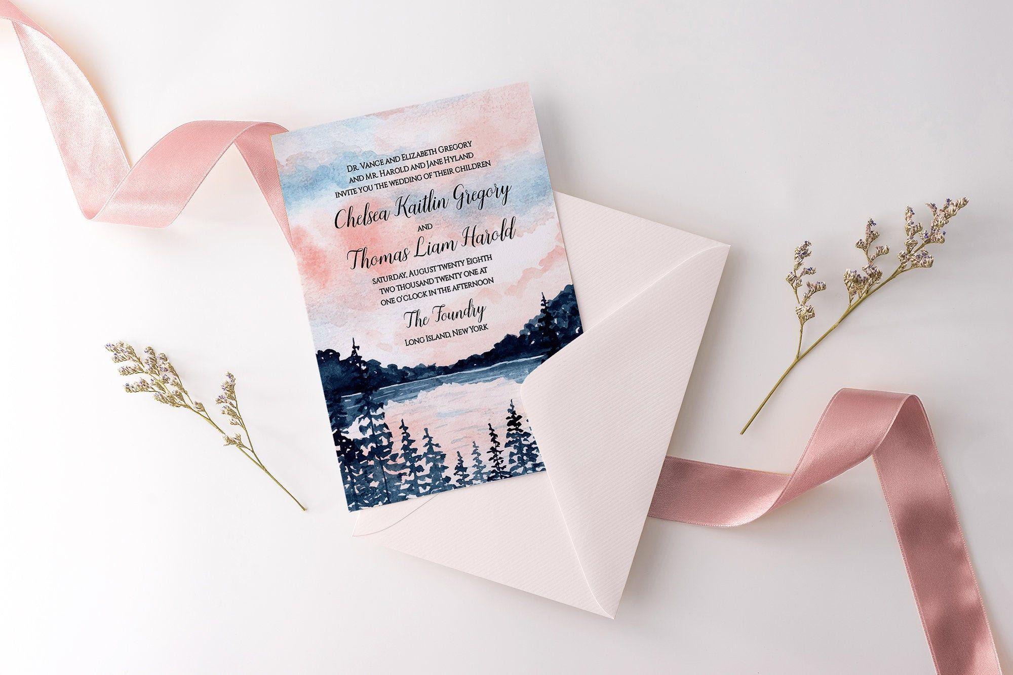 "Wedding Invitation Template ""Morning Lake"" Invitation"