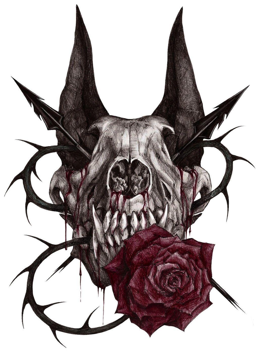 wolf skull by xx samira hunter on deviantart designs tattoos pinte. Black Bedroom Furniture Sets. Home Design Ideas