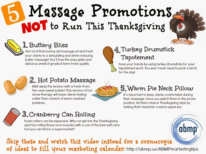 Massage promotions not to run for Thanksgiving | For Massage ...