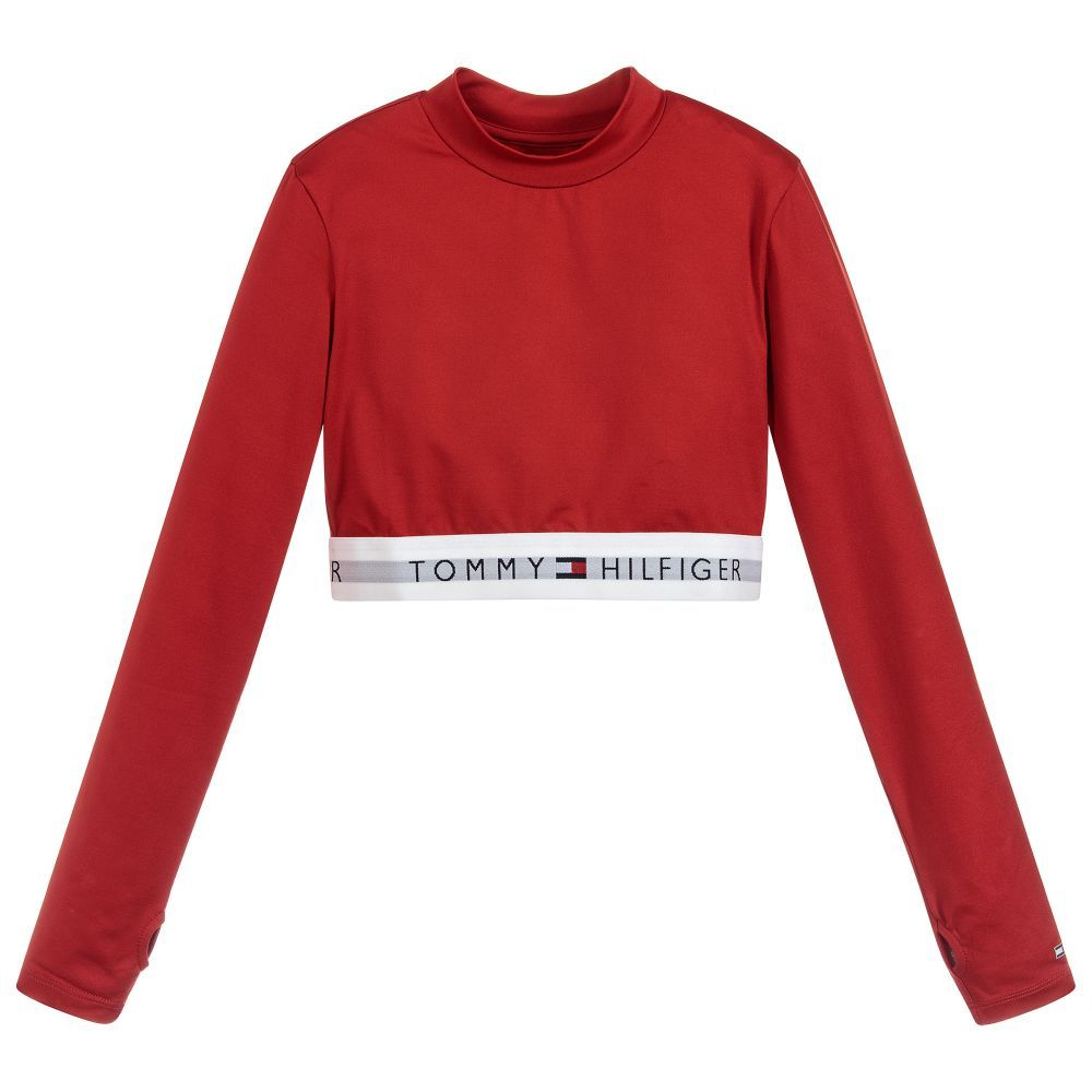 Girls Red Logo Cropped Top For Girl By Tommy Hilfiger Discover More Beautiful Designer Tops Fo Tommy Hilfiger Crop Top Tommy Hilfiger Kids Tommy Hilfiger Girl