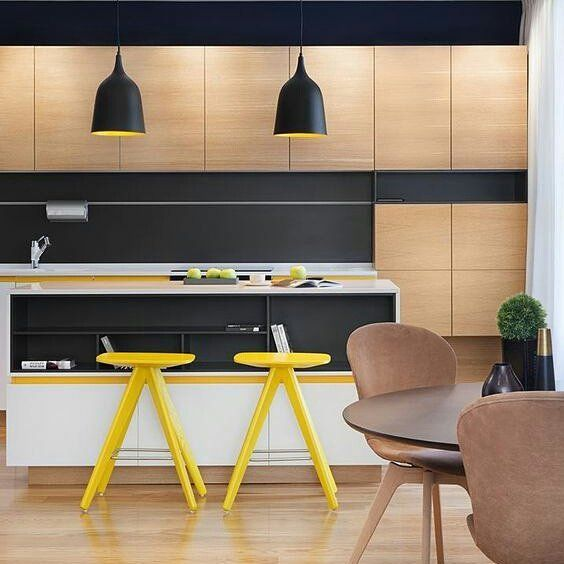Fun high contrast kitchen a mid century inspired apartment with modern geometric accents