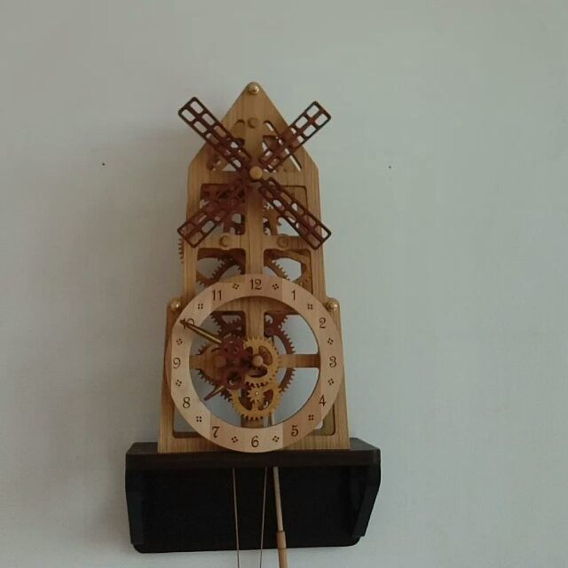 Wooden wall clock windmill with wooden gears