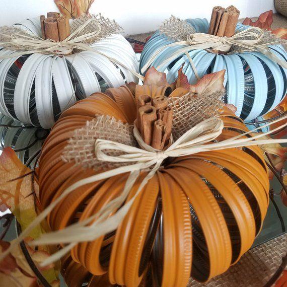 Mason Jar Lid Pumpkin Fall Decor Canning