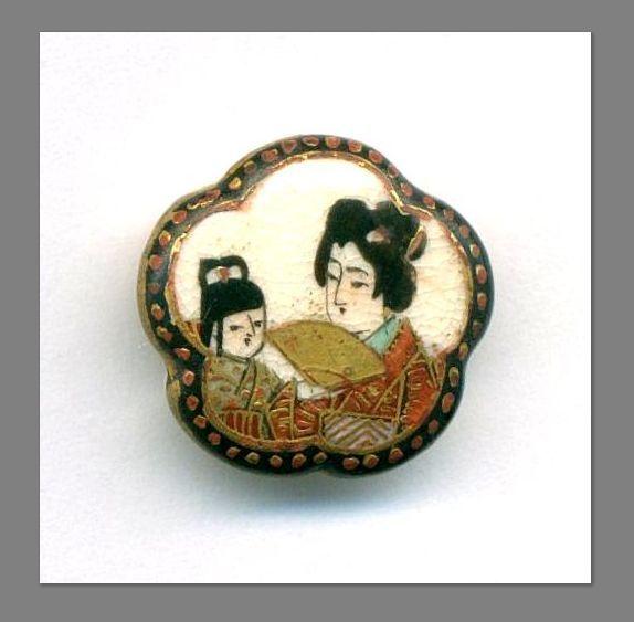 Antique Satsuma Buttons Geishas