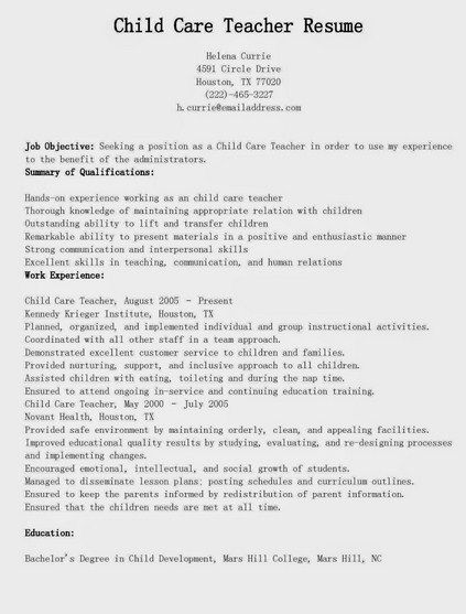 Child Care Teacher Resume -   getresumetemplateinfo/3614/child - child care sample resume