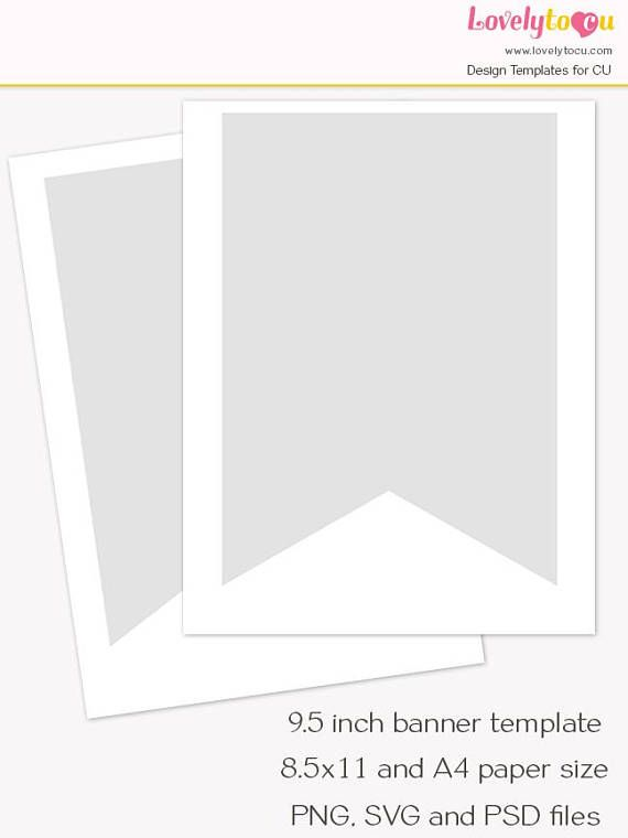 Pennant flag banner template 95 inch banner printable diy - pennant banner template