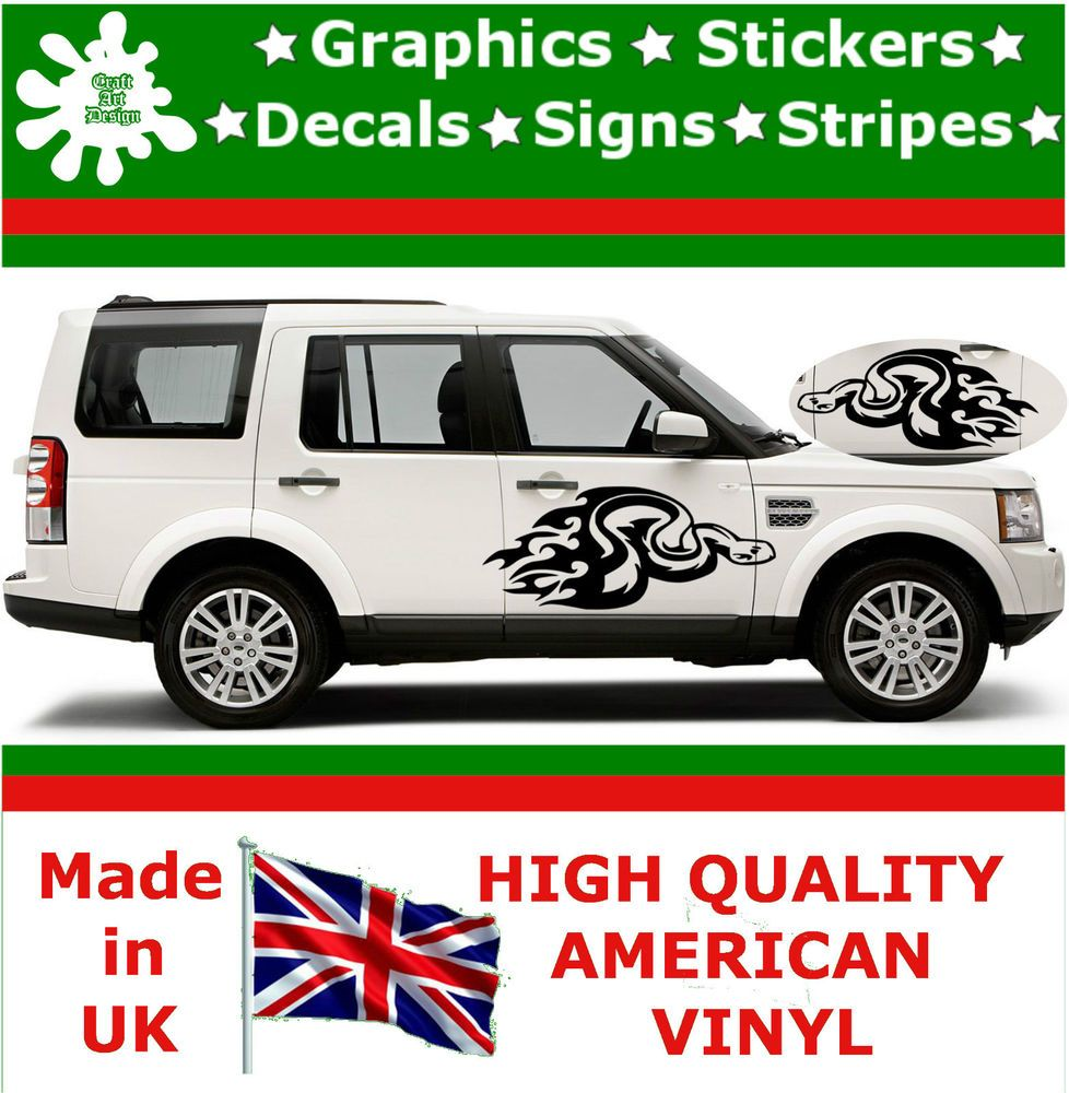 2 x large car side snake attack flame graphic 4x4 decals vinyl stickers van 42