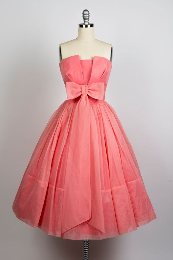 Vintage 1950s prom dress// 50s organza pink party dress