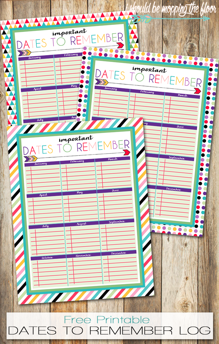 photo about Printable Dates called No cost Printable Dates in the direction of Try to remember Log Printables Little ones