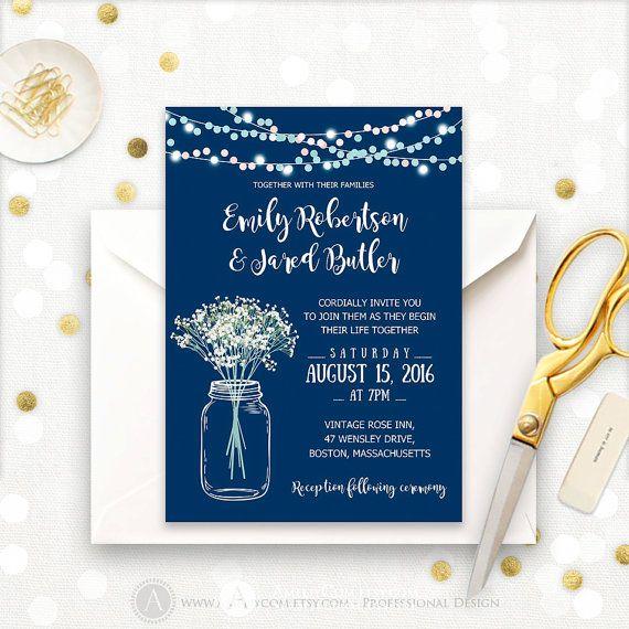 Wedding Invitation Template Printable Navy Rustic Mason Jar