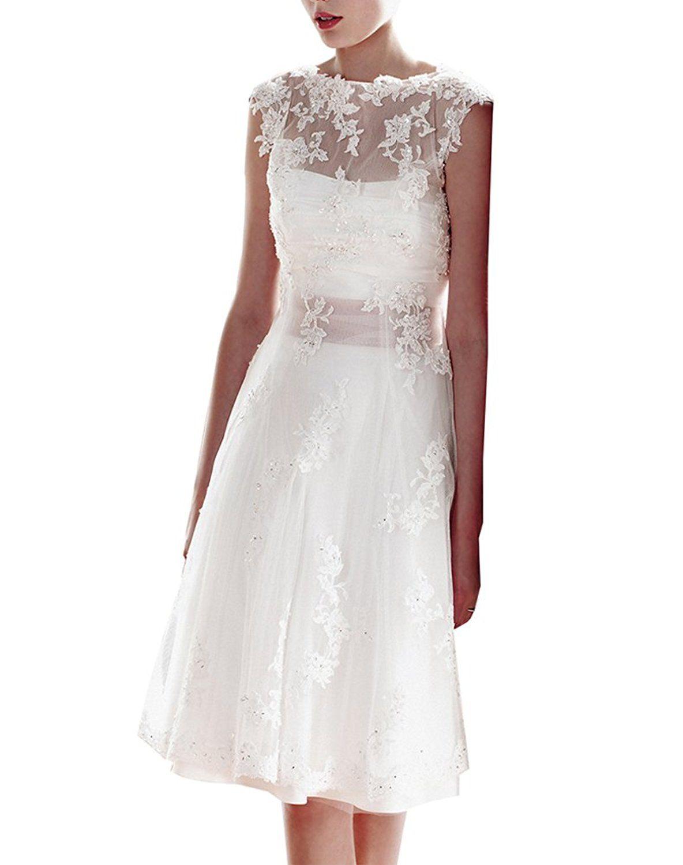 Erosebridal - Knielanges Spitzen Brautkleid - weißes Abendkleid ...