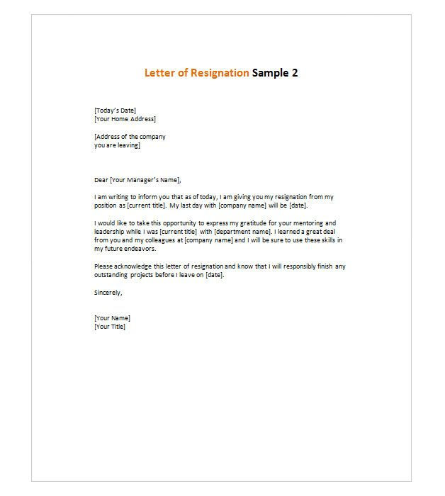 Letter of Resignation 2 resignation letter Pinterest - Letter Of Resignation Template Word Free