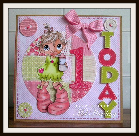 Handmade Greeting Card 1 year old by inkydoodlecrafts on Etsy – 1 Birthday Card