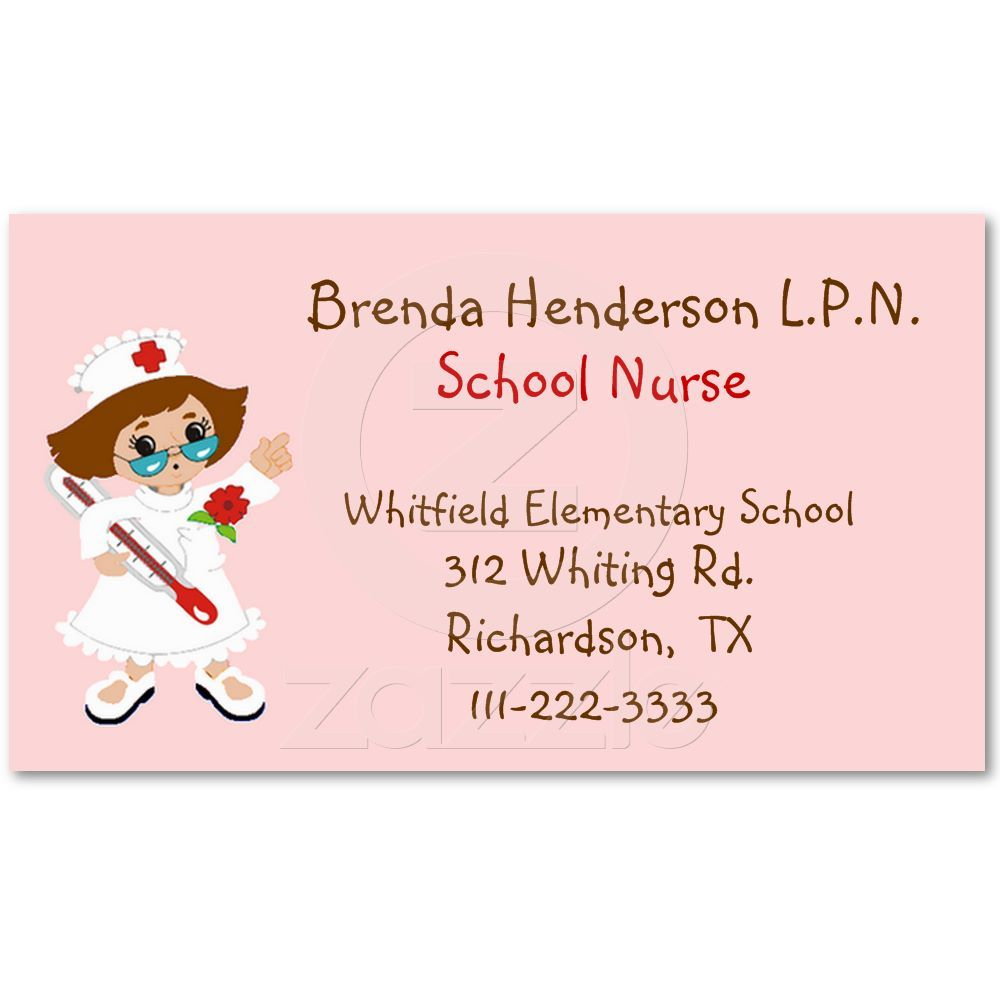 Cute School Nurse Business Card | School, Business and School health