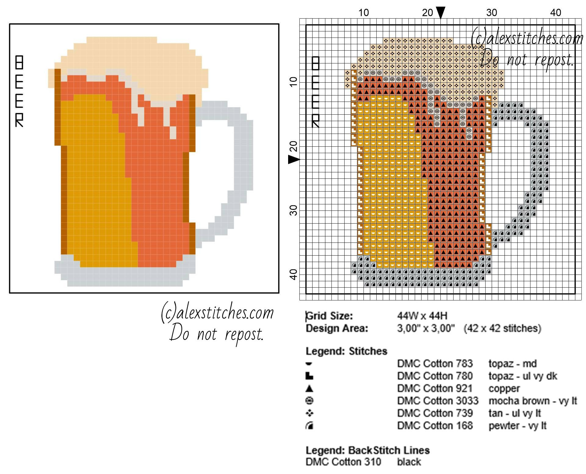 coaster idea beer glass free cross stitch pattern download 44 x 44