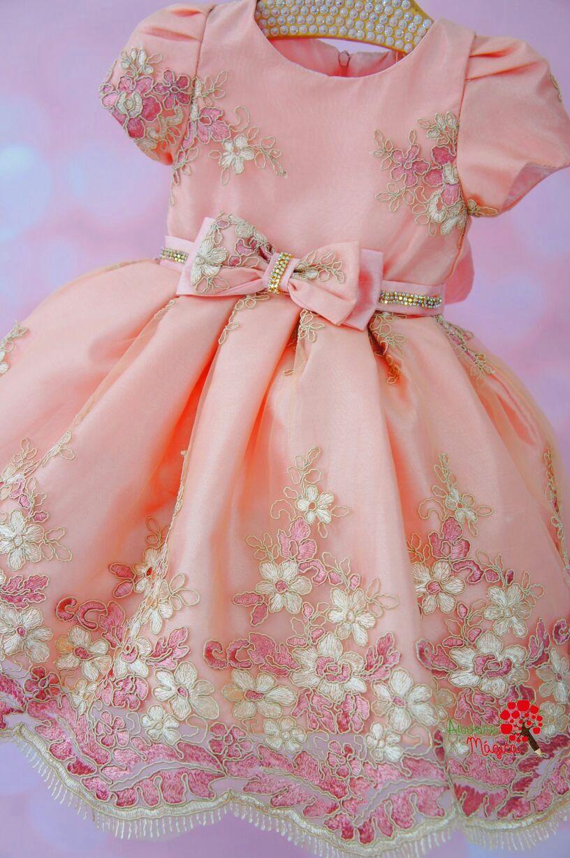 f0f368b5fb Vestido de Festa Infantil Rosê Renda Luxo Petit Cherie