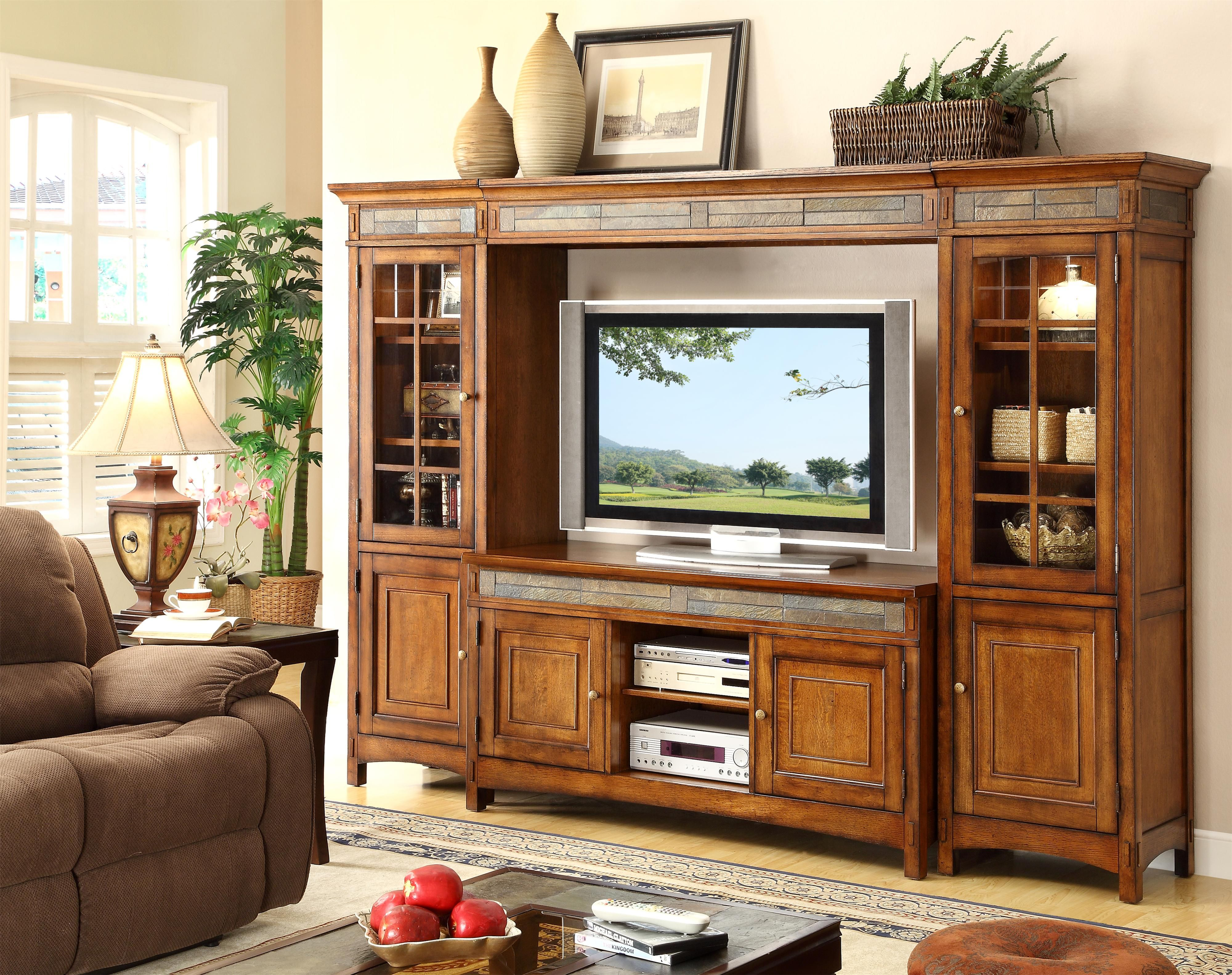 Craftsman Home 6 Door Entertainment Wall Unit With Slate Tile Accents By Riversid Riverside Furniture Home Entertainment Centers Traditional Design Living Room