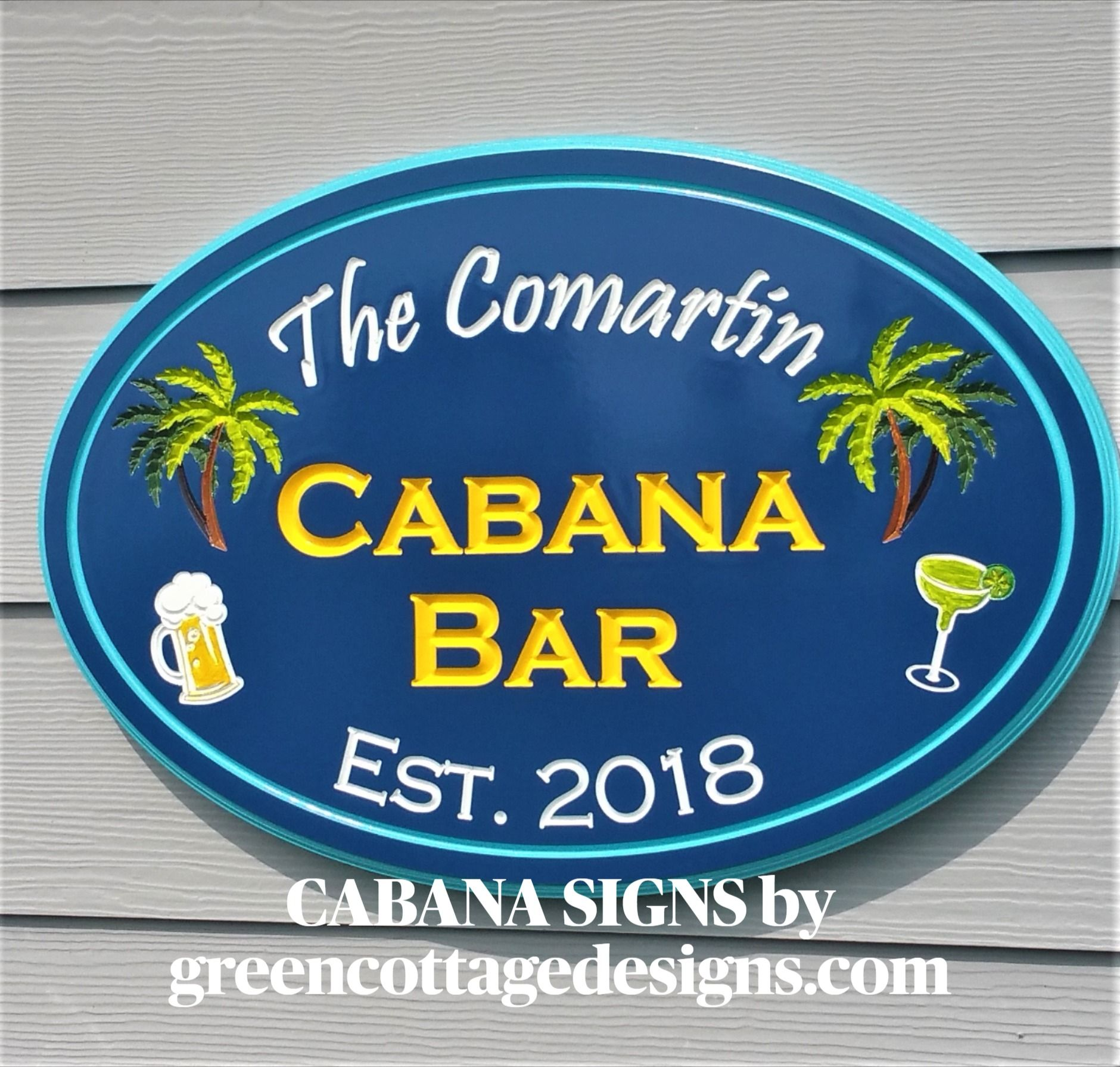 Large Hand Painted Welcome Personalized Pool Resort  Patio Backyard Sign Swimming Spa  Tiki Beach Bar Cabana Good Food Cold Beer