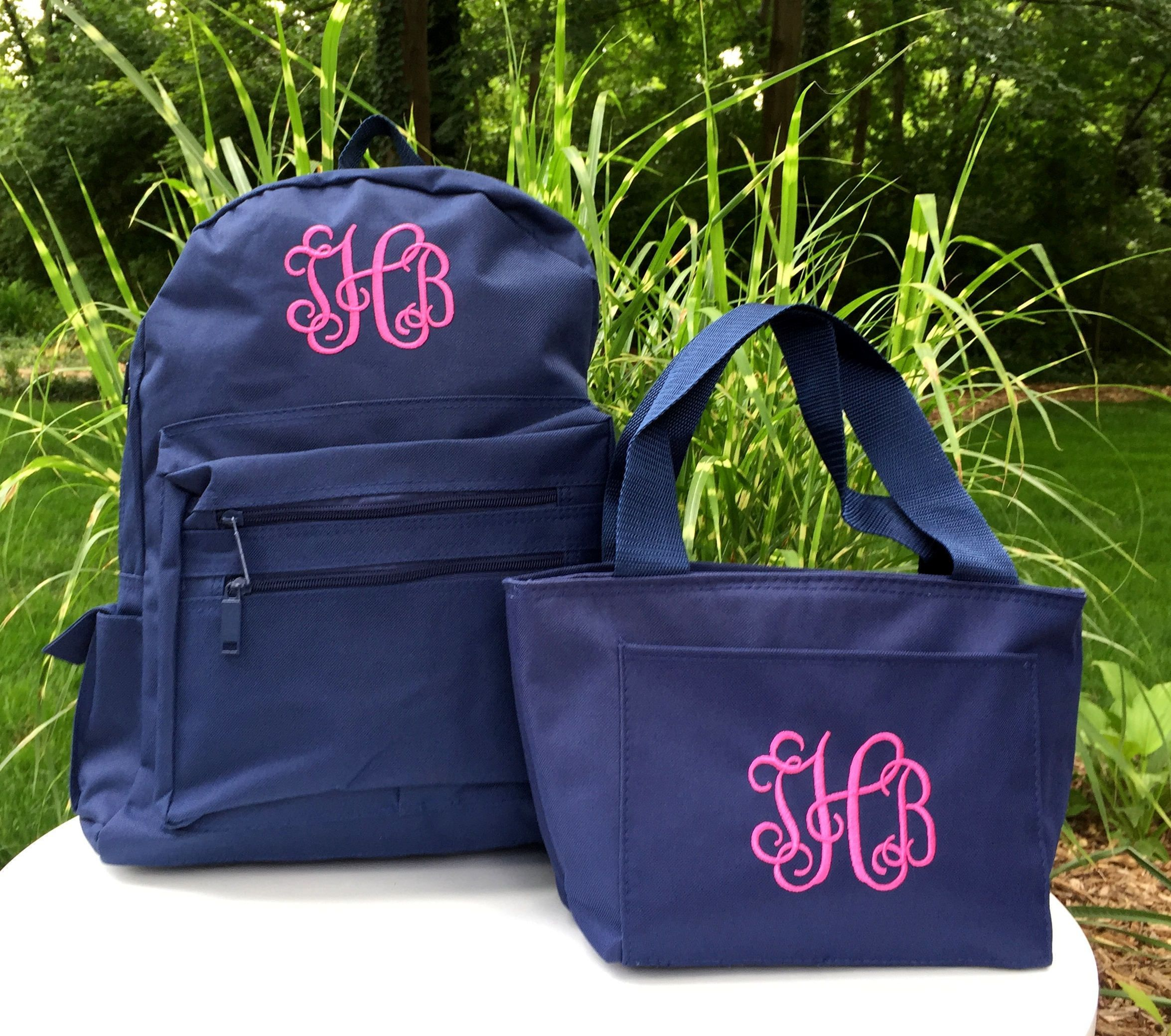 Monogrammed Backpack and Lunchbox - Personalized School Girls Back Pack - Book  Bag - Kids Children - Lunch Tote - Kid Back Pack - Child Bag by MJMonograms  ... 12c901943b0d3