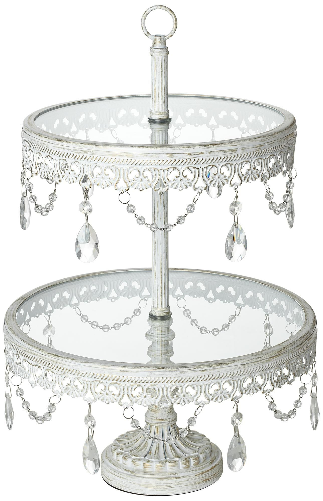 jenny 2 tier glass top white cake or cupcake stand lampsplus com