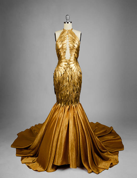 8c47771fb8b7d Gold Gilded Feather Couture Mermaid Gown