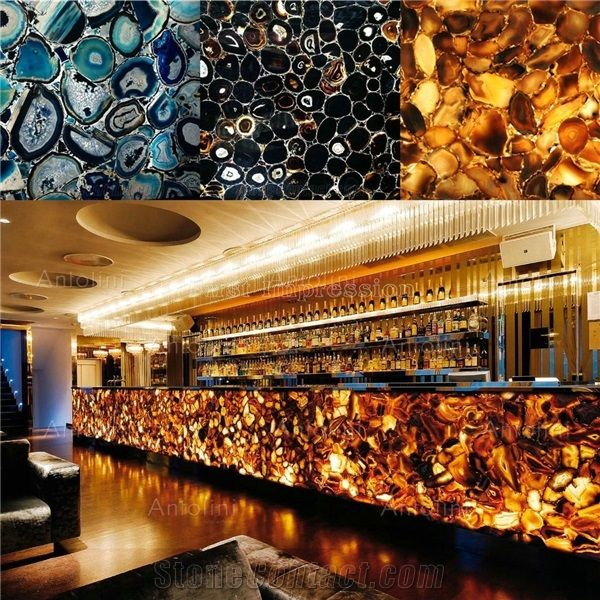 Chinese Agate Stone Slabs Tiles Semi Precious Interior Flooring Red Transmittance Blackground Wall