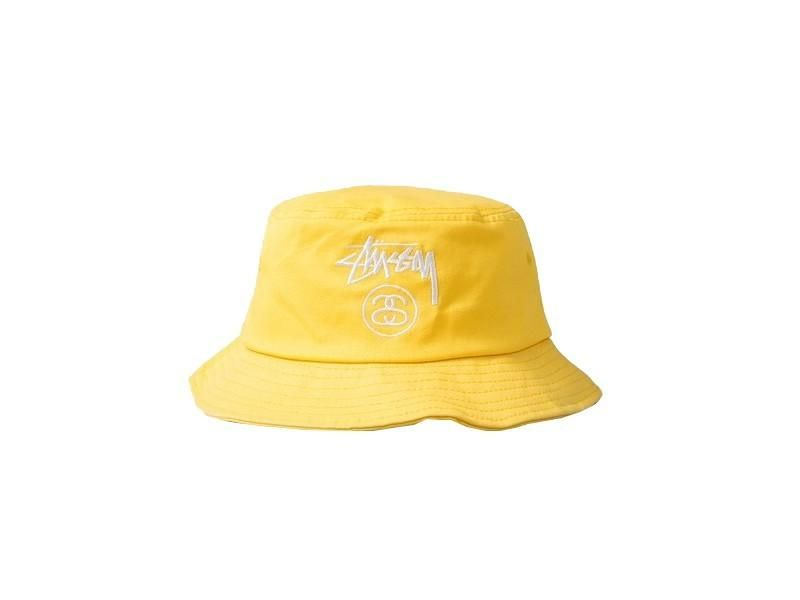 b76022be Mens / Womens Stussy Stock Lock Embroidery Logo Golf Camp Fishing Bucket  Cap - Yellow