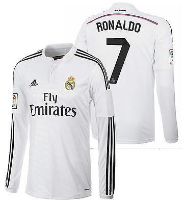 fadc8e1f9 ADIDAS CRISTIANO RONALDO REAL MADRID LONG SLEEVE HOME JERSEY 2014 15 ...