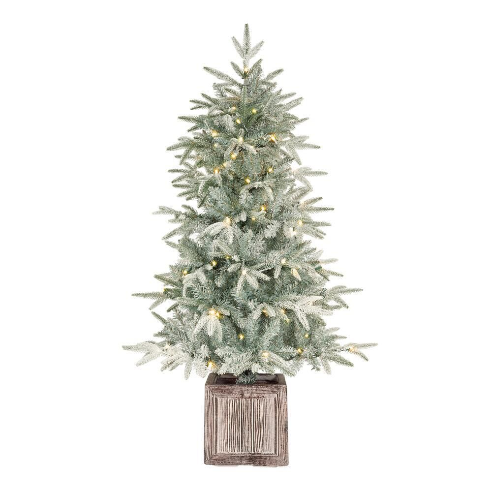 Home Accents Holiday 4 5 Ft Pre Lit Potted Artificial Christmas Tree With 100 White Lights Ty478 2017 The Home Depot In 2020 Front Porch Christmas Decor Flocked Artificial Christmas Trees Slim Artificial Christmas Trees