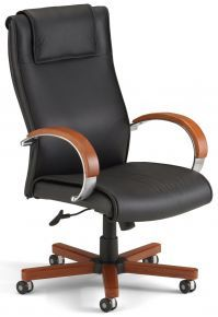 Leather Office Chairs: Apex Series Executive High Back Leather Chair with Wood Accents: 560-L – OFM – Vista Stores@$414.99