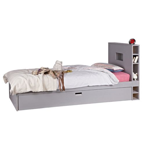 lit enfant 90 x 200 cm en pin gris avec