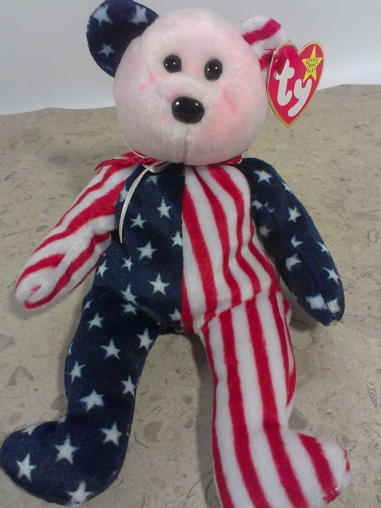 0ce97b5dde3 Ty Beanie Babies SPANGLE Teddy Bear Plush American Patriotic USA Bean Bag  Baby  Ty